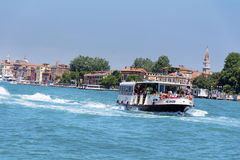 Ferry with passengers sailing  to Venice ,Italy Royalty Free Stock Images