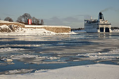 Ferry passing by Suomenlinna Sea Fortress Stock Images