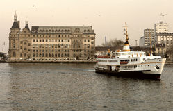 Ferry from the pier of asian side of Istanbul and Haydarpasa Stock Photo