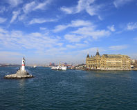 Ferry from the pier of asian side of Istanbul and Haydarpasa Stock Images