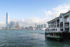 Ferry at a pier in Hong Kong Royalty Free Stock Photo