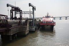 Ferry at the pier marine terminal Macau Stock Photos