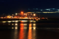 Ferry Pier on night. Koh Samui, Thailand Royalty Free Stock Photography