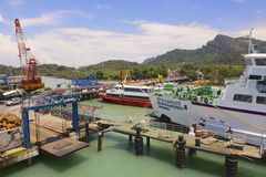 Ferry port in Donsak in Surat Thani province, Thailand. Royalty Free Stock Photography