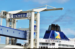 Ferry in Port of Dover. At Channel coast in the south of England Royalty Free Stock Photo
