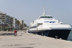 Ferry in the port of Ibiza Royalty Free Stock Photos