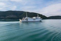 Ferry from port of Igoumenitsa to Corfu Island, Greece. Sea landscape Stock Photography
