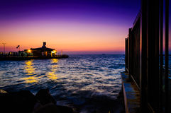Ferry Port Island Sunset Scenery Royalty Free Stock Photography
