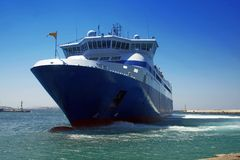 Ferry at the port of Mykonos Royalty Free Stock Image