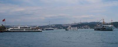 Ferry Port near Bosphorus Bridge in Istanbul, Turkey stock image