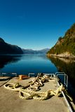 Ferry port in norwegian fjord Royalty Free Stock Images