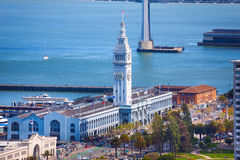 Ferry port pier tower building in San Francisco. View from the hill royalty free stock images