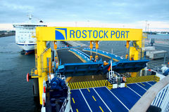 Ferry in the port of Rostock (Germany). Stock Photography
