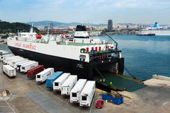 Ferry at Port Vell.  Barcelona Stock Photo