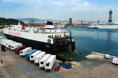 Ferry  at Port Vell.  Barcelona Royalty Free Stock Photography