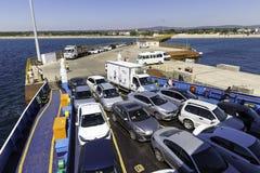 Ferry is preparing to leave Geyikli village towards Bozcaada Island, Canakkale, Turkey Stock Image