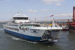 Ferry `Protoporos 4` approaches the berth in the port of Caucasus Royalty Free Stock Photography