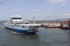 Ferry `Protoporos 4` arrived in the port of Caucasus Royalty Free Stock Photo