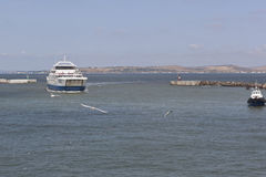 Ferry `Protoporos 4` enters the harbor of the port of Caucasus Royalty Free Stock Photo