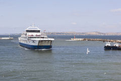 Ferry `Protoporos 4` in the port harbor of the Caucasus Royalty Free Stock Images
