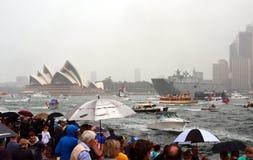 Ferry a raça no porto no dia de Austrália Fotografia de Stock Royalty Free
