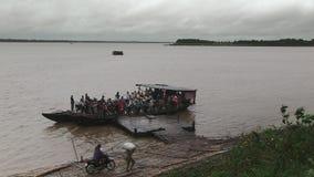 Ferry, rain, cloudy, mekong, cambodia stock video