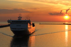 Baltic sea ferry returns to Klaipeda port Royalty Free Stock Image
