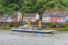 Ferry on the Rhine River Stock Photography
