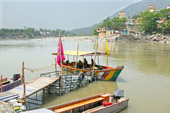 Ferry on the river Ganga at Laxman Jhula in India Royalty Free Stock Photos
