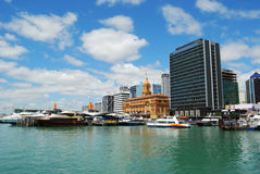 Ferry sailing out auckland harbor Royalty Free Stock Image