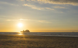Ferry sailing in sunset Royalty Free Stock Photos