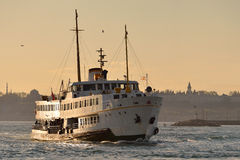 A ferry sails into the Bosphorus Sea, Istanbul. Stock Photo