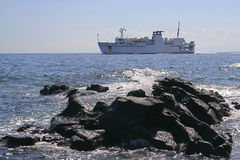 Ferry on the sea, Italy Royalty Free Stock Photos
