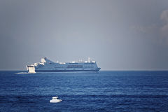 Ferry in the sea Royalty Free Stock Photography