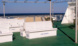 Ferry Seats. Benches on the deck of a ferry boat crossing the Delaware Bay Stock Images