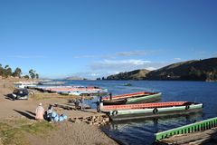 Ferry service on lake Titicaca Royalty Free Stock Photo