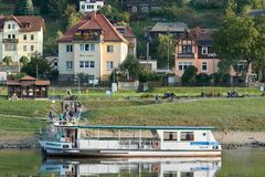 ferry service to the town of Wehlen on the banks of the Elbe royalty free stock image