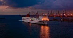 Ferry ship arriving port Stock Photos