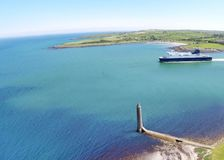Ferry ship boat in Co. Antrim Northern Ireland 2017 space for text copy. Ferry ship boat in Co. Antrim Northern Ireland 2017 space for text royalty free stock image