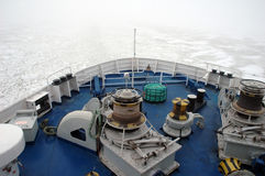 Ferry Ship on frozen sea Royalty Free Stock Photography