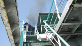 Ferry Ship Funnel Makes Black Smoke Cloud. Air Exhausting HD Slowmotion. Thailand. stock footage