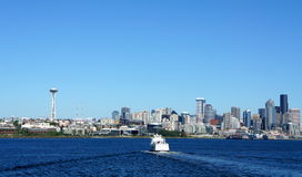 Seattle downtown viewed from Elliott Bay Stock Images