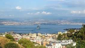 Ferry ship in the Messina strait Royalty Free Stock Photos
