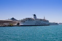 Ferry Ship in port. Split - Croatia. A ferry boat moored in the port waiting for passengers. Split in Croatia Stock Photos