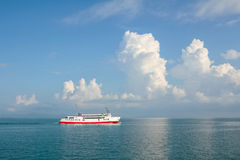 Ferry ship in the sea. Blurred for background Stock Images