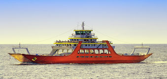 Ferry ship transportation in the sea Stock Photos