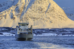 Ferry ship on Ullsfjord Stock Photography
