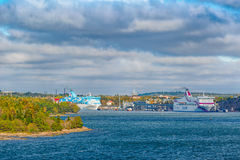 Ferry ships Silja Galaxy and Baltic Princess in Mariehamn Stock Image