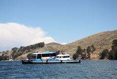 Ferry in the Strait of Tiquina at Titicaca lake, Bolivia Stock Photography