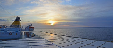 Ferry sunrise panorama Royalty Free Stock Images